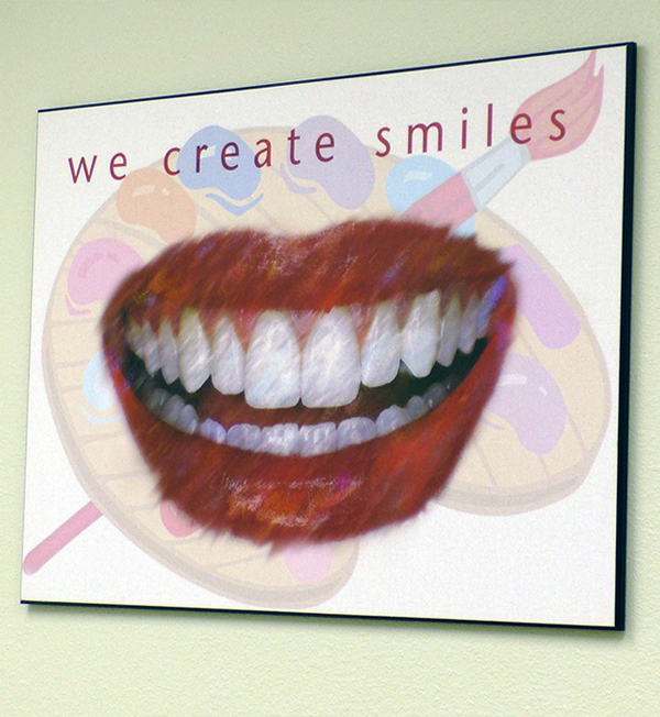 Poster of big white smile and red lips